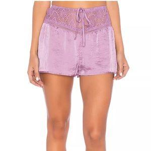 Band Of Gypsies Lace Trim Pajama Satin Shorts